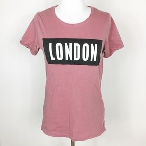 H&M Graphic Tee London Pink sz. XS